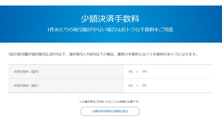 PayPalは少額決済で手数料がお得になるプランが提示されている